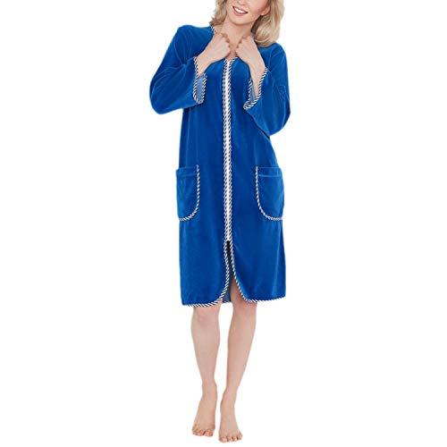 Aquarti Damen Hausmantel Kurz mit Reißverschluss 3/4 Arm, Farbe: Blau, Größe: L