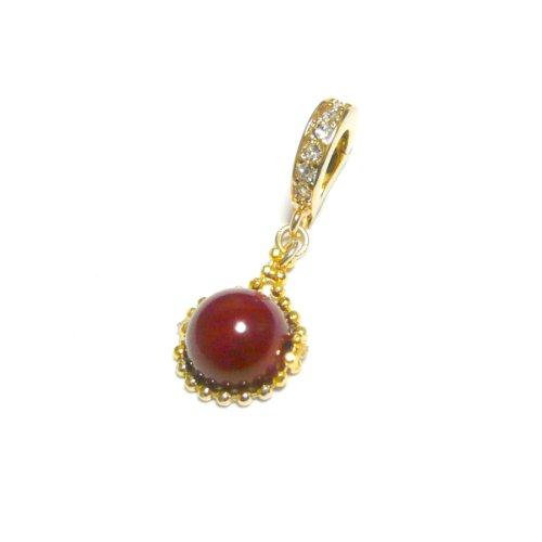 【 自在/可動 バチカン 】 赤珊瑚 (8mm 丸珠) ペンダント トップ/ゴールド トーン
