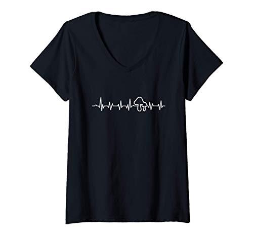 Damen Pilze Herzschlag Pilzzucht Pilzjagd Pilz Wald Natur Geschenk T-Shirt mit V-Ausschnitt