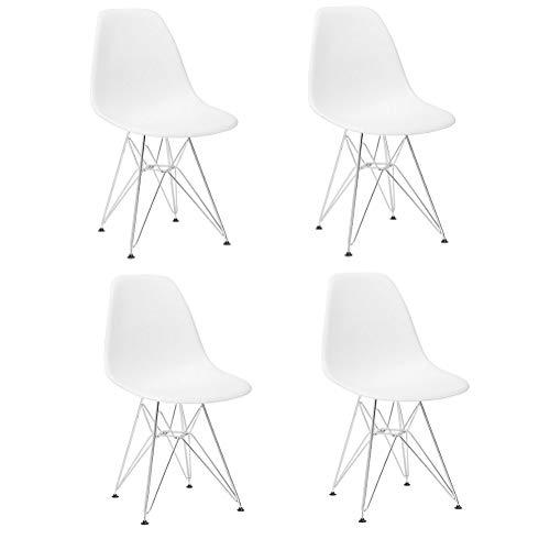 N/A 4 piezas de sillas de comedor de plástico respetuosas con el medio ambiente, muebles de oficina de ocio moderno con pies de metal, diseño ergonómico, elegante y cómodo (blanco)