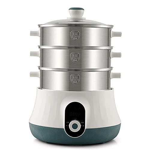 HHTD Vaporizador eléctrico 3 Capa de Alta Capacidad Cita Multi Función Tiempo de Acero Inoxidable Cocina de Vapor Potador de Vapor