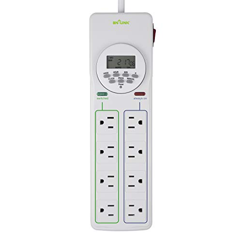 BN-LINK 8 Outlet Surge Protector with 7-Day Digital Timer (4