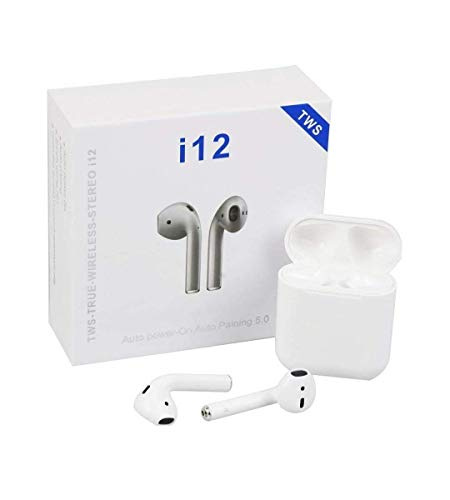 H&G Collection i12 Wireless AIRPODS with Portable Charging Case Supporting All Smart Phones and Android Phones with Sensor (White)