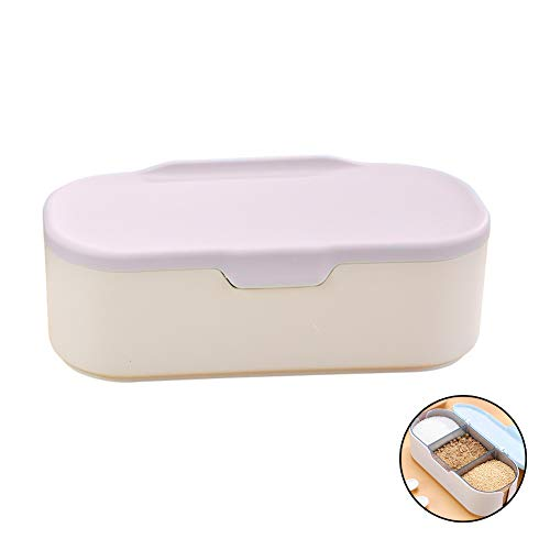 TSHG Plastic Seasoning Box, 3 Compartments, Sorted Storage, Sealed and Leak-Proof Removable Spice Jar, One Compartment with One Spoon, to Prevent Cross-Flavour, Suitable for Family Kitchen,Pink
