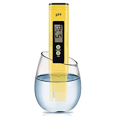 Digital PH Meter, PH Meter 0.01 PH High Accuracy Water Quality Tester with 0-14 PH Measurement Range for Household Drinking, Pool and Aquarium Water PH Tester Design with ATC (2020-Yellow)