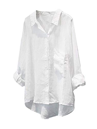 Mallimoda Donna Camicie Scollo a V Manica Lunga Bavero Basic Tops Shirt in Cotone Lino Stile 2 Bianca XL