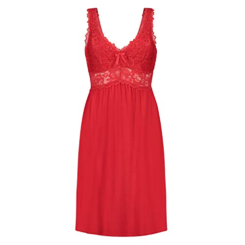 Hunkemöller Damen Slipdress Modal Lace, Tango Red [108101], S