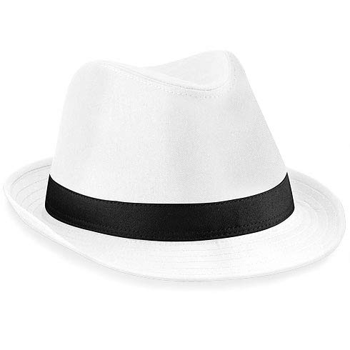 Chapeau fedora Beechfield Taille unique blanc/noir