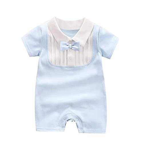Puseky baby peuter korte mouw strik Romper baby Bodysuit Jumpsuit (lichtblauw, 6M-12M)