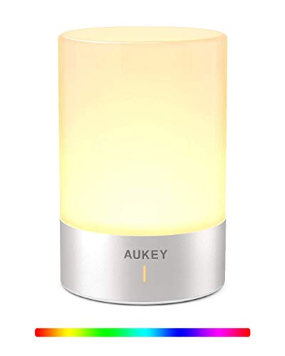 AUKEY Cordless Lamp Rechargeable Table Lamp LED Bedside Lamp with Dimmable Warm White Light & Color Changing RGB Touch Lamp for Bedrooms