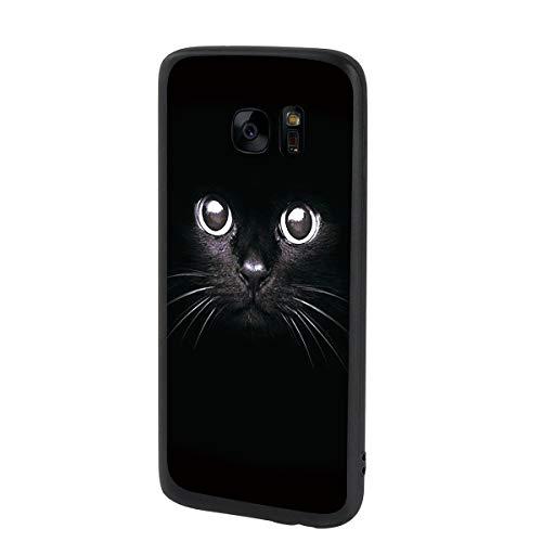 ZhuoFan Funda Samsung Galaxy S7 Edge Cárcasa Silicona Ultrafina Negra con Dibujos Diseño Suave TPU Gel Antigolpes de Protector Piel Case Cover Bumper Fundas para Movil Samsung S7Edge, Gato Negro