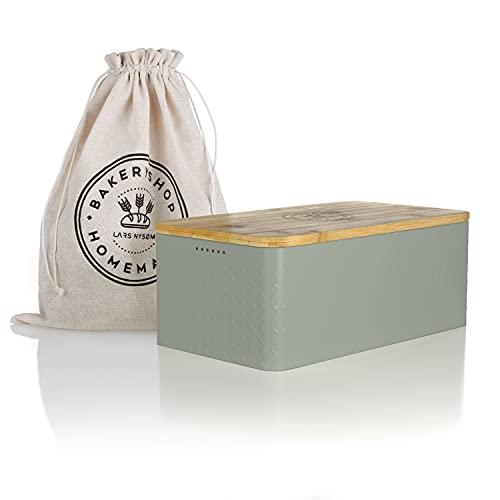 LARS NYSØM Brotkasten I Brotbox aus Metall mit Brotsack aus Leinen für langanhaltende Frische I Brotdose mit hochwertigem Bambusdeckel verwendbar als Schneidebrett I 34x18.5x13.5cm (Sage)