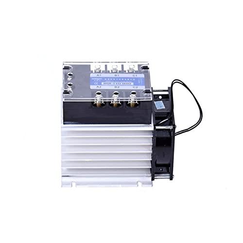 JSJJAES Relé Relé de Estado sólido trifásico DC Control CA 380V 40A SSR-3 032 3840Z Conjunto Completo de DC-AC (relé, disipador de Calor, Ventilador) (Size : Three Phase 100DA)