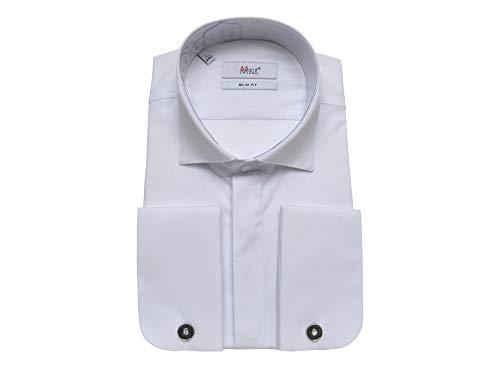 MMUGA Camicia da galleria colletto con gemelli Slim Fit bianco S