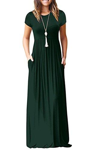 Euovmy Round Neck Short Sleeve Maxi Dresses with Pockets