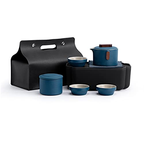 IPOUJ Juego de té de Viaje portátil, pequeño Conjunto de Tazas de té en Caja rápida, una Olla y Tres Tazas