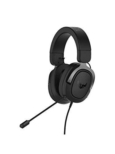 ASUS TUF Gaming H3 - Auriculares compatible conPC, PS4, Xbox One, Nintendo Switch y telefonos móviles, con sonido envolvente 7.1, graves potentes, diseño ligero, gris