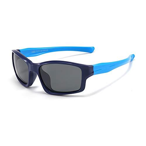 Suertree Flexible Kinder Sonnenbrille, Polarisierte Sonnenbrille Kinder, UV 400 Schutz Sport Sonnenbrillen für Mädchen und Jungen (Dunkelblau/Blau)