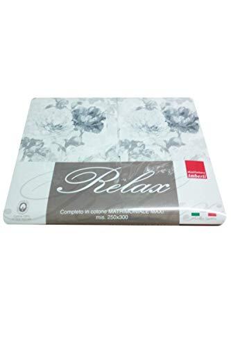 Juego de sábanas de 2 plazas de 250 x 300 cm, fundas de almohada de tres volantes, de puro algodón 100 %, color gris