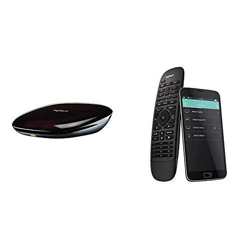 Logitech Harmony Companion Fernbedienung (funktioniert mit Amazon Alexa) schwarz + Harmony Hub (funktioniert mit Amazon Alexa), schwarz - Haussteuerung mittels Hub und App