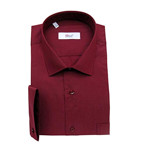 MMUGA Regular Fit Herren Hemd mit Einstecktuch Bordeaux 4XL