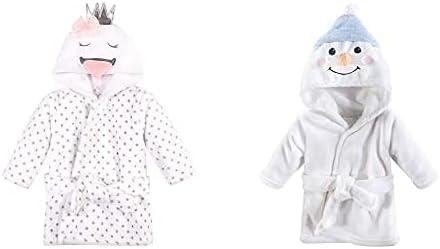 Hudson Baby Girl Plush Animal Face Bathrobe 2-Pack, Swan Snowman