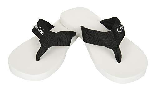 Calvin Klein Zapatilla Hombre Swimwear CK artículo KM0KM00207 FF Webbing Sandals, 100 Bianco - White, Piede 43/44