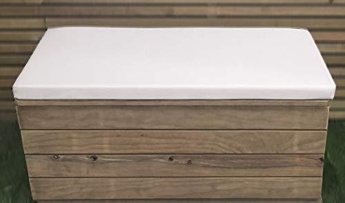 Banc de coffre en bois traité avec coussin pour l'extérieur. Entièrement assemblé.