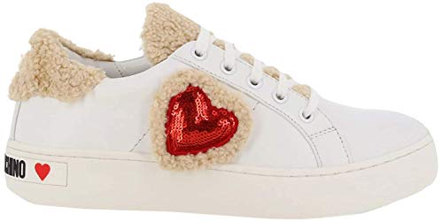 Love Moschino Scarpadonna Cassetta, Zapatillas de Gimnasia Mujer, Blanco (Bianco 100), 41 EU