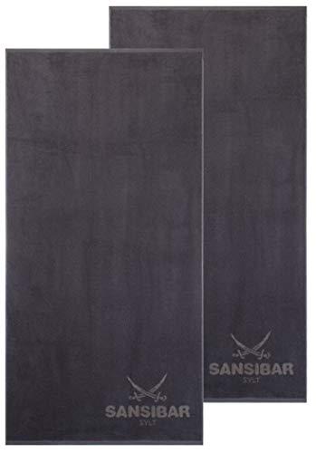 Sansibar Duschtuch 2er Set 70x140 cm 100% Baumwolle Handtuch Doubleface Frottiertuch Zweifarbig Anthrazit/Taupe