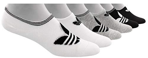 adidas Originals Women's Trefoil Superlite Super No Show Socks (6-Pair), white/light heather grey/black, 5-10