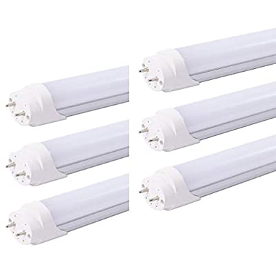 HOLDWILL 6 Pack T8 LED Light Tube, 8FT 48 Watts, Cool White 6000K, 5280 Lumens, Dual-End Powered, Ballast Bypass, Frosted Cover, T8 T10 T12 Fluorescent Light Bulbs Replacement with G13 Bi-pin Base