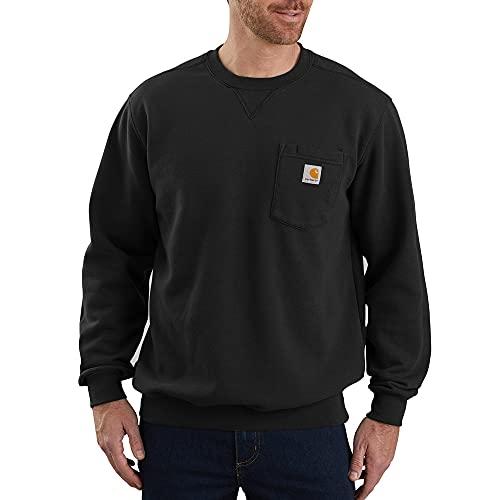Carhartt unisex adult Crewneck Pocket (Regular and Big & Tall Sizes) Sweatshirt, Black, Large US