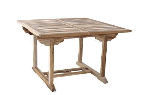 SAM Teak-Holz Gartentisch, Balkontisch Madera, 120-170 x 120 cm, massiver ausziehbarer Holztisch für Ihren Balkon oder Garten