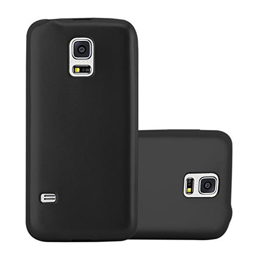 Cadorabo Hülle für Samsung Galaxy S5 Mini / S5 Mini DUOS in METALLIC SCHWARZ - Handyhülle aus flexiblem TPU Silikon - Silikonhülle Schutzhülle Ultra Slim Soft Back Cover Case Bumper
