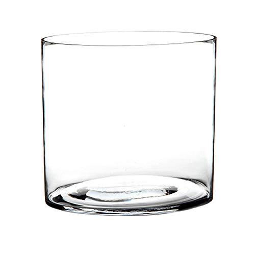 HOGAR Y MAS Jarrón Cilindrico de Cristal Transparente, Estilo Moderno Colocar Flores 20X20X20 cm.-Hogarymas-