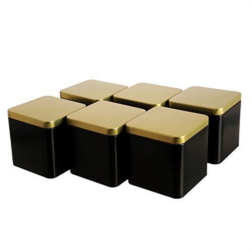 Dosenritter | 6 x edle eckige Teedose/Vorratsdose, Schwarz Gold, aromadicht aus Metall für je 150g Tee | 9 x 9 x 9 cm (H,B,T) | auch ideal als Gewürzdose