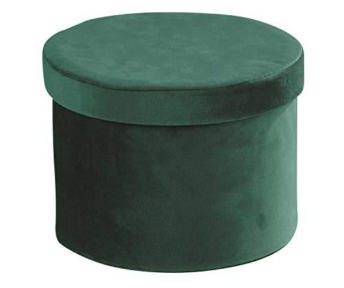 Home4You Aufbewahrungsbox Regalkorb Aufbewahrungskorb   Samt   Grün   Mit Deckel   Ø 22 cm x H 16 cm