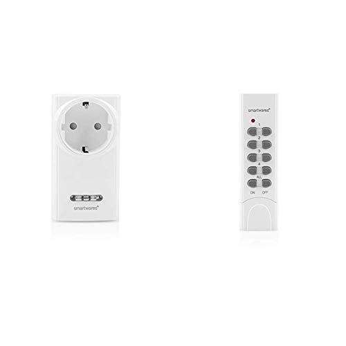 Smartwares SH5-RPD-02A W SmartHome Funk-Steckdimmer 200 Watt, 230 V, Weiß & SH5-TDR-F SmartHome Funk-Fernbedienung 4-Kanal, Grau, Weiß
