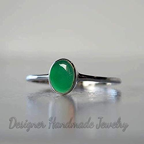 925 Silver Natural Green Onyx Oval Ring Women New Rings Faceted Gemstone Jewelry