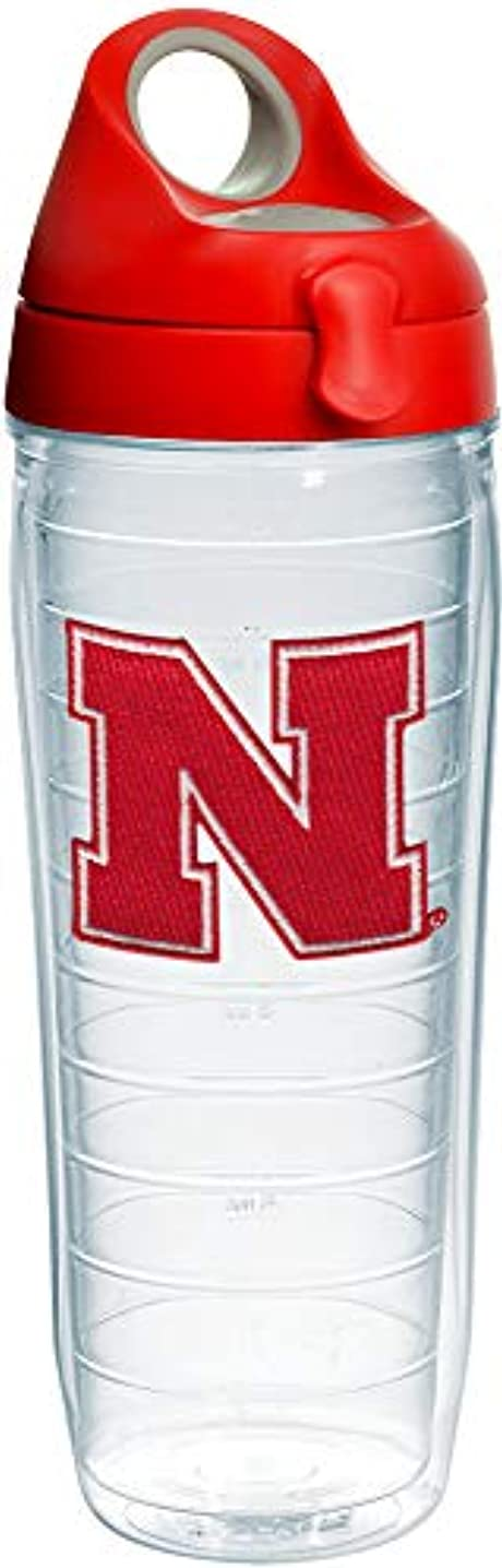 Tervis 1231080 Nebraska Cornhuskers Logo Insulated Tumbler with Emblem and Red with Gray Lid, 24oz Water Bottle, Clear