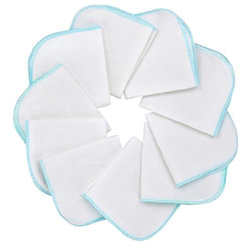 Mias Baby-Waschlappen aus Molton Flanell – 10 Stück, aus Baumwolle, Farbe: weiß-blau, schadstofffrei/Baby-Tücher/Kosmetik-Tücher/Allzwecktücher
