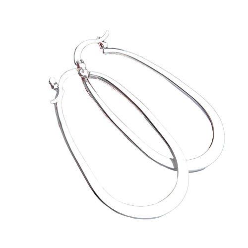 Ogquaton Women's U Shaped Big Hoop Earrings Silver Plated 3cmx5cm New Released