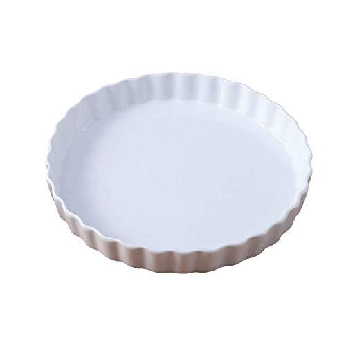 Yaeeee Cerámica para hornear plato de cocina de gres para hornear, cerámica placa de pizza microondas queso para hornear para hornear plato para hornear pan para hornear cerámica (color: blanco, tamañ