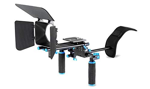 Movie Video Making Rig Set System Kit (1) Shoulder Mount+(1) 15mm Rail Rod System+(1) Matte Box Compatible for Camcorder DSLR Camera Such as Canon Nikon Sony Pentax Fujifilm Panasonic