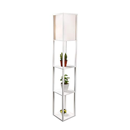 PULUOMIS Floor Lamp with Shelves, 3 Layers Wooden Shelf Standing Light, Modern Reading Lamp for Bedroom, Living Room, Office, Home Decoration (Size:26x 26 x 160 cm) (Without Bulb)-White