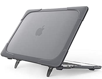 """ProCase MacBook Pro 13 Case 2019/2018/2017/2016 Release with/Without Touch Bar A2159 A1989 A1706 A1708 Heavy Duty Hard Shell Protective Cover with Fold Kickstand for Apple MacBook Pro 13"""" –Grey"""