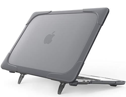 ProCase Carcasa Dura Transparente para MacBook Pro 13 2019-2016 A2159 A1989 A1706 A1708, unda Rígida de Capa Doble con Soporte Plegable para Macbook Pro 13 Pulgadas 2019 2018 2017 2016 -Gris