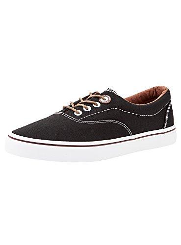 oodji Ultra Herren Baumwoll-Sneakers Basic, Schwarz, 44 EU / 10 UK