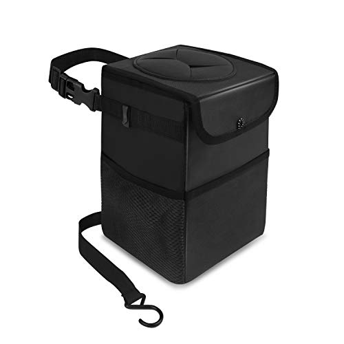 Car Trash Bag Automotive Garbage Can with Lid,Foldable Vehicle Trash Bin Container for Car with Storage Pockets,Waterproof & Leak-Proof,Black
